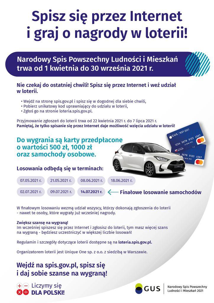 Baner promujący loterię z nagrodami dla osób, które samodzielnie wezmą udział w NSP przez internet