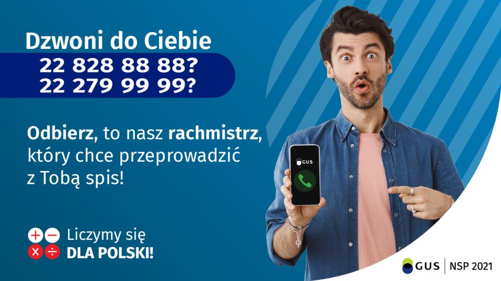 Baner informujący o numerach telefonu z których może zadzwonić Rachmistrz w sprawie NSP 22 828 88 88 oraz 22 279 99 99