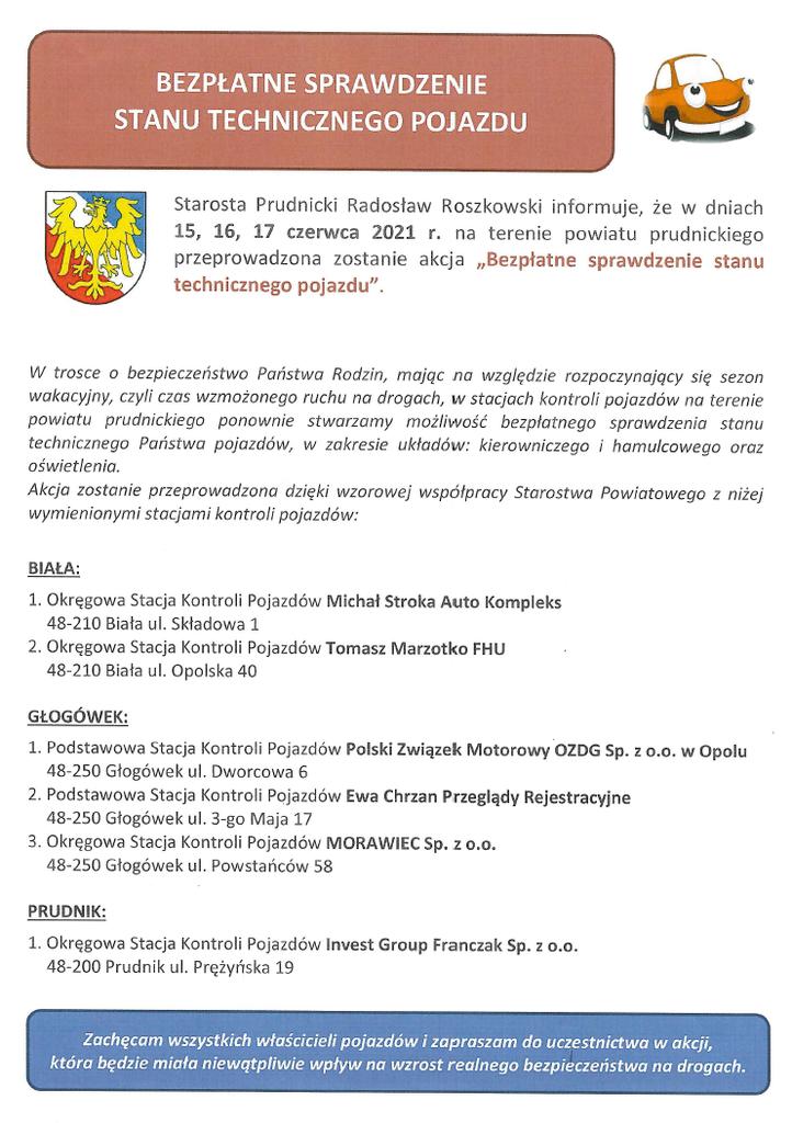 W dniach 15-17.06.2021 odbędzie się akcja bezpłatnej kontroli stanu technicznego pojazdów na OSKP w Białej Prudniku I Głogówku